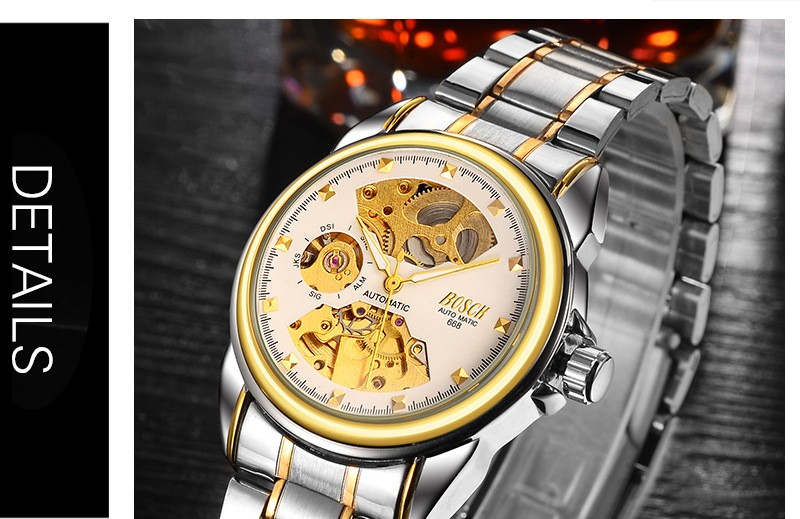 HTB1qb7VbfWG3KVjSZFgq6zTspXa5 Men's Watches Automatic Mechanical Gold Watch Male Skeleton Dial Waterproof Stainless Steel Band Bosck Sports Watches Self Wind