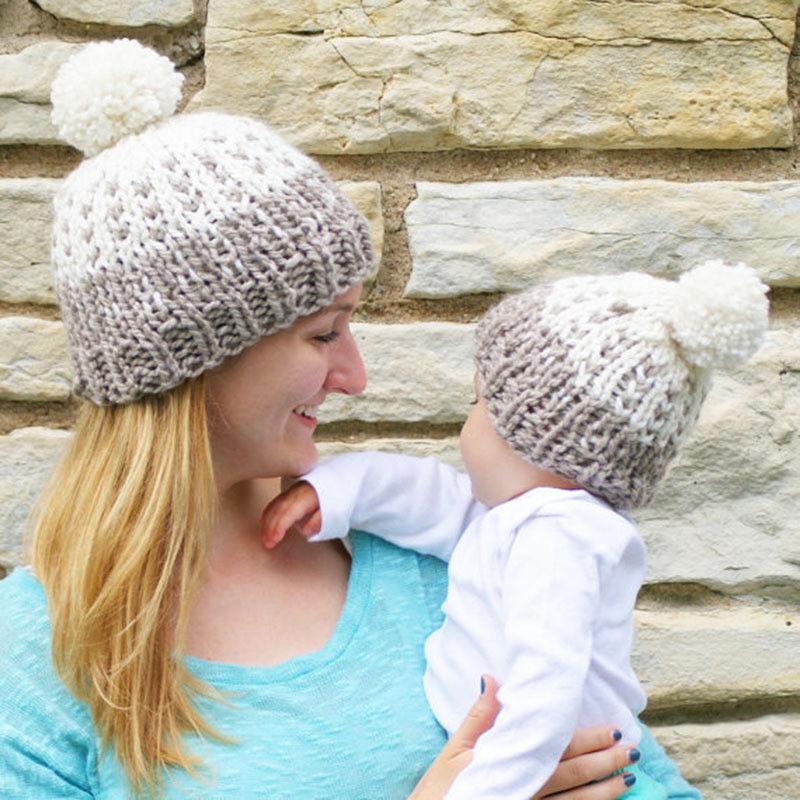 2pcs Parent Child Family Matching Hats Winter Warm Knit Striped Pom Hat Crochet Fur Wool Beanie Ski Cap