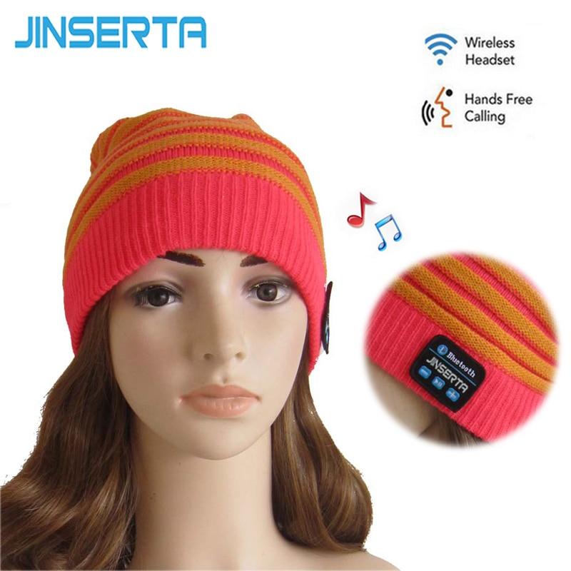 JINSERTA Wireless Bluetooth Earphone Soft Warm Beanie Hat Smart Cap Headset with mic Listening Music Answering Phone Headphone