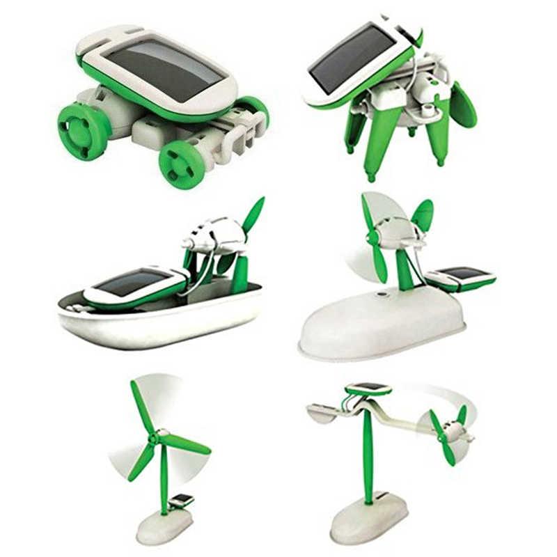 6 In 1 Solar Robot Kit DIY Merakit Gadget Pesawat Terbang Perahu Mobil Model Kereta Ilmu Hadiah Mainan untuk Anak Laki-laki anak-anak Baru & Gag Toy