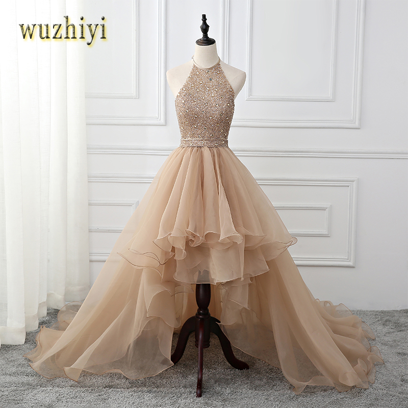 wuzhiyi vestidos de formatura  High/Low Champagnes Lace Prom dresses 2017 Beading Crystal Evening Prom dress Sexy Evening Dress