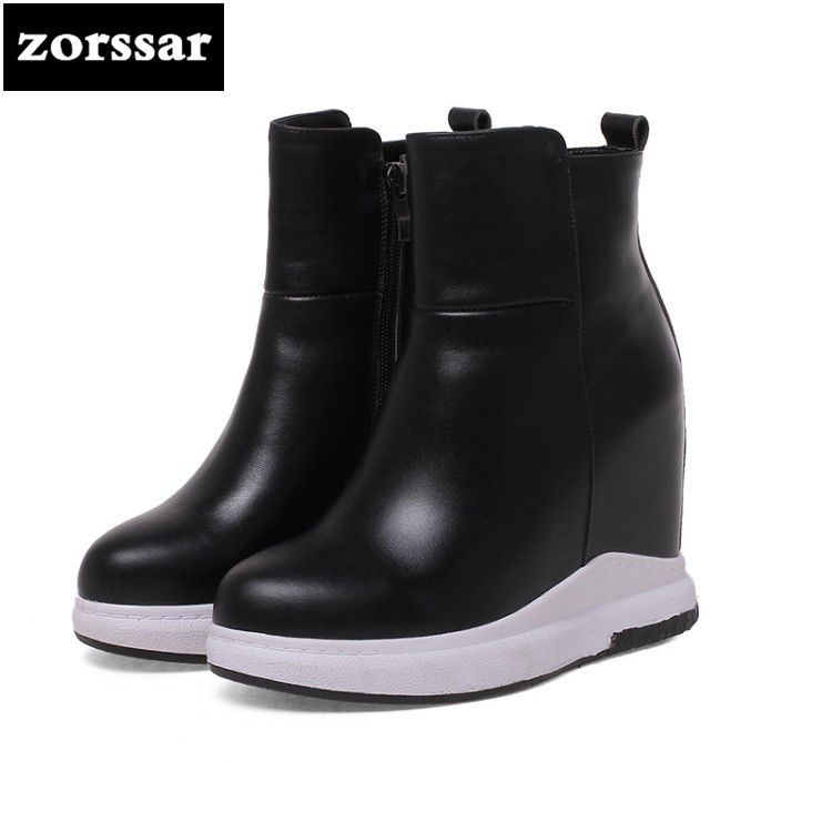 {Zorssar} Real leather Womens shoes platform ankle boots casual height increasing women boots High heel zapatos de mujer botas{Zorssar} Real leather Womens shoes platform ankle boots casual height increasing women boots High heel zapatos de mujer botas