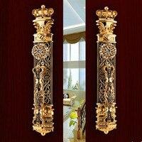 Европейский deluxe золотой замок двери офиса переключатель двери безопасность блокировка дверей вилла античная бронза двойной тянуть большо