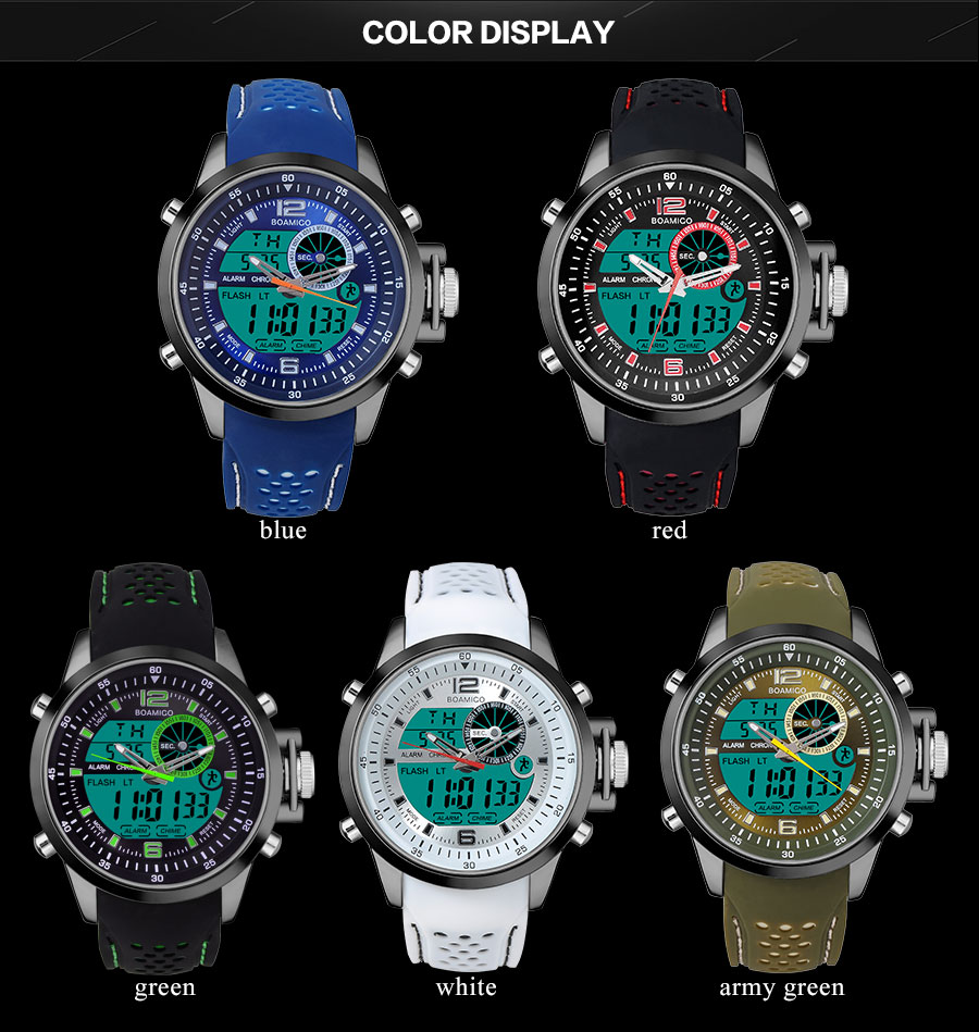 IsMyStore: BOAMIGO Brand Men Sports Watches Military Quartz Watches Analog Digital LED Watches 30M Waterproof Wristwatch Relogio Masculino