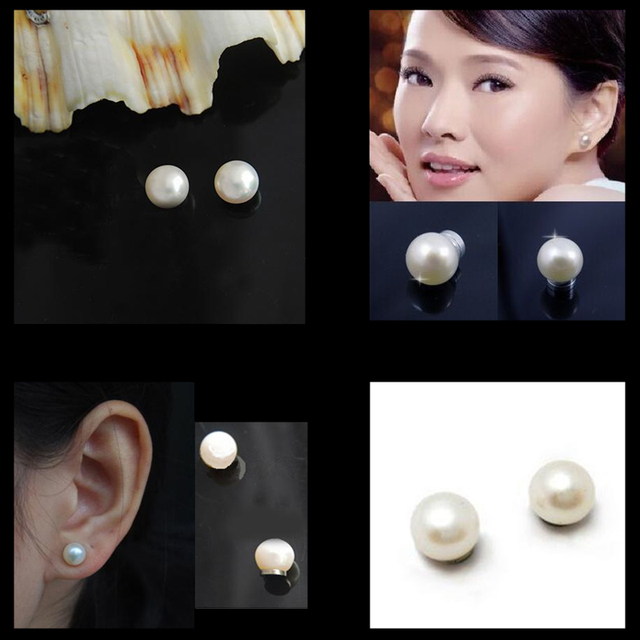 2018 Hot Stud Earrings For Women 6mm 8mm Magnet Pearl Clip On No