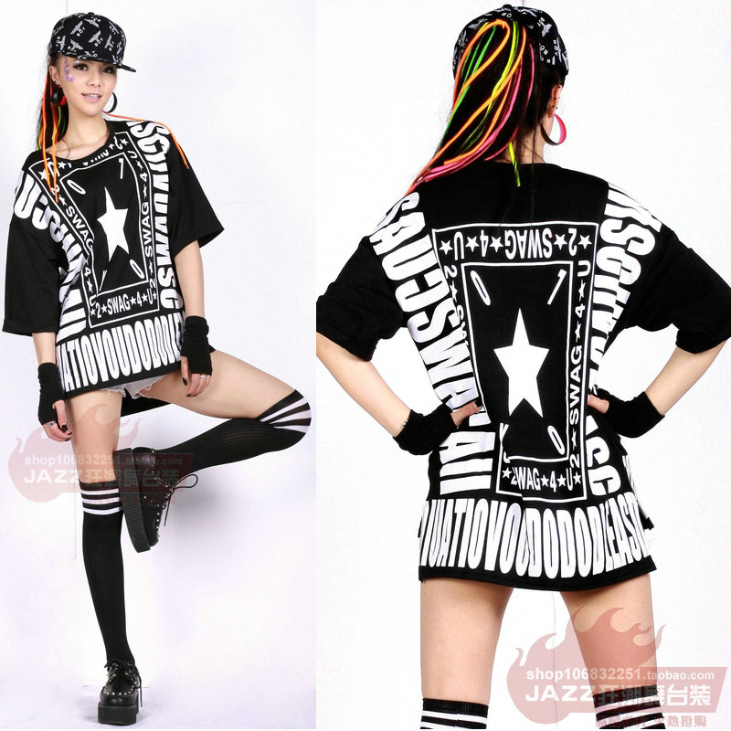 New Fashion hip hop Street loose scripture half sleeve top jazz dancer  female Jazz costume performance wear Sexy t-shirt