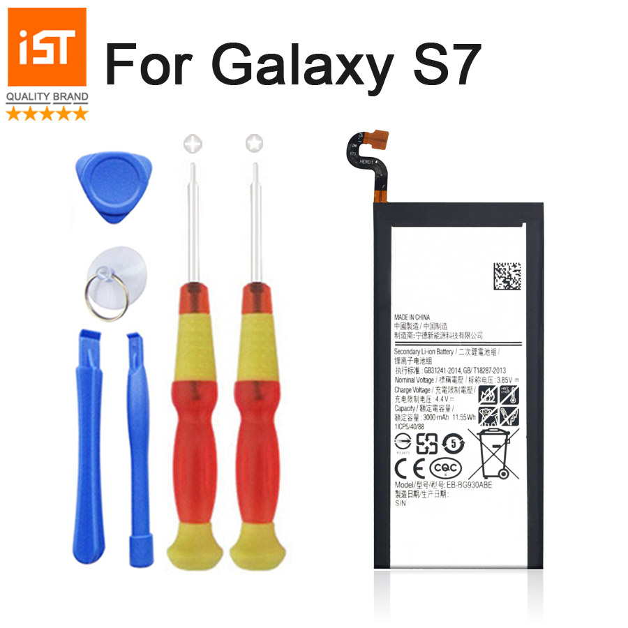 2017 New 100% IST Original Mobile Phone Battery For Samsung Galaxy S7 G930F G9300 G930 Real 3000mAh Replacement Battery Gift