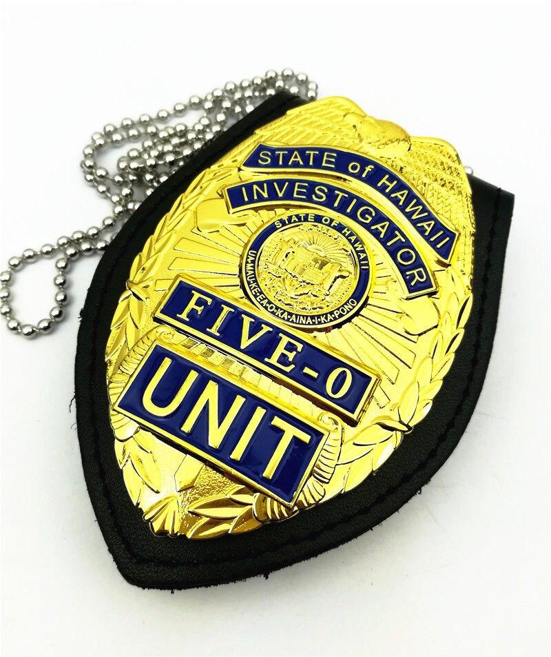 US Hawaii Five-0 Badge Hawaii 5 o Badge & Chain Belt Leather Badge Holder Gift Replica Movie Prop Pin Badge Halloween Cosplay
