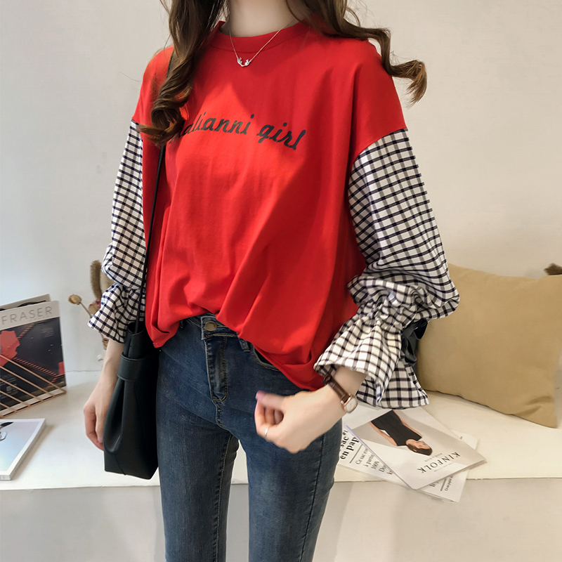 M-4xl Plus Size Cotton Casual T-shirts Women Plaid Patchwork Flare Sleeve O-neck Tshirts Harajuku Fake Two Piece Loose Tees Tops 8