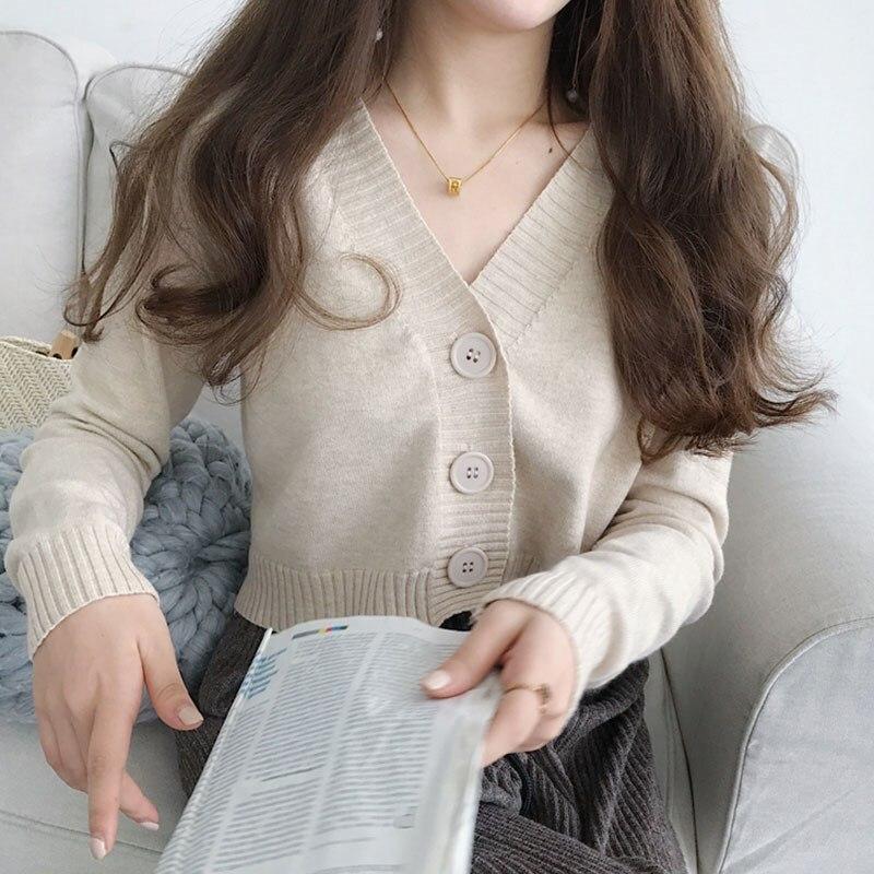 Women Diamond Sleeve Knit Cardigan Cropped Knit Top Sweater