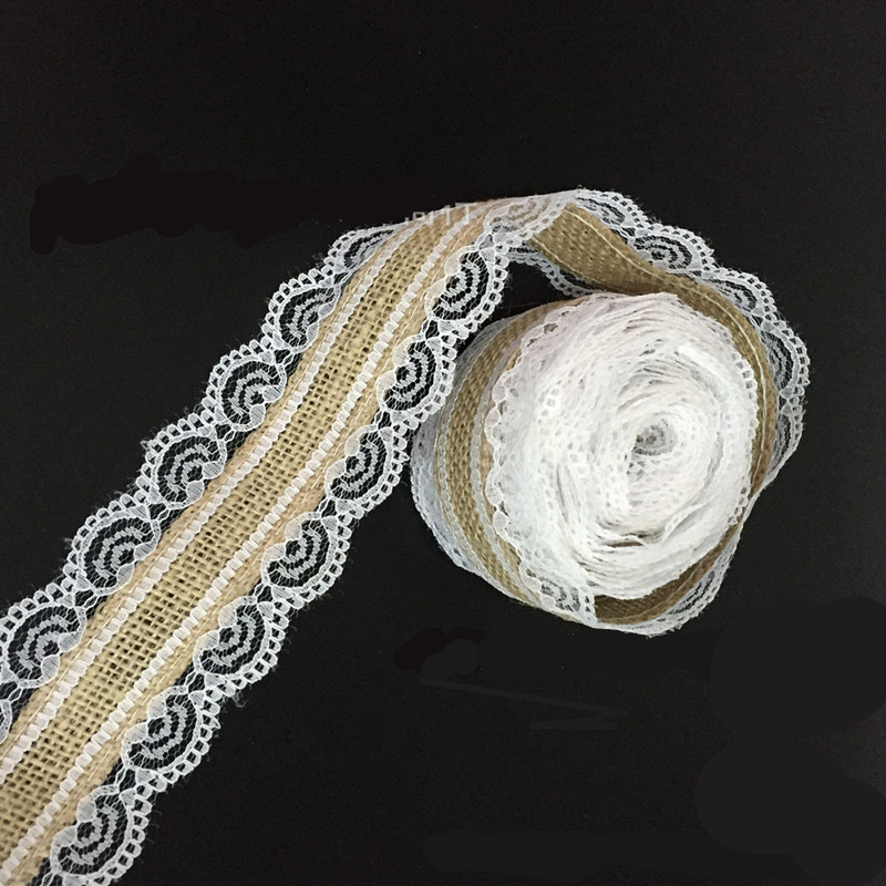 Wholesale 10m Natural Jute Burlap Hessian Lace Ribbon Roll + White Lace Vintage Wedding Decoration Party Christmas Crafts Decora