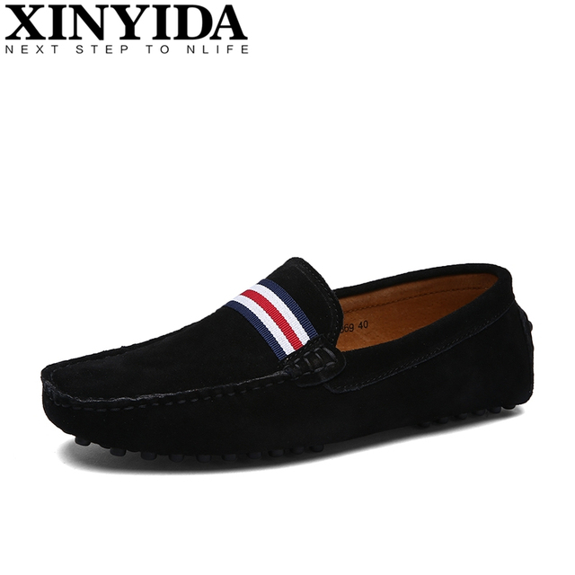 Men's Leather Moccasin Slip On Tie Front Loafers Causal Mens Shoes Driving Shoes