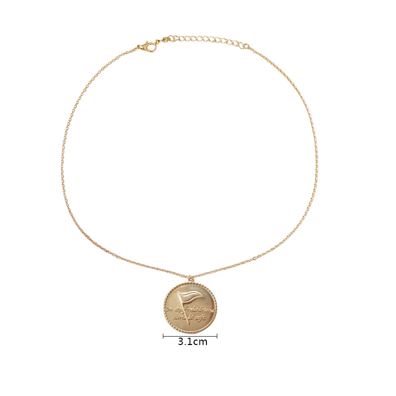 Gold/Silver Color Round Flag English Word Pendant Necklaces For Women Fashion Charm Chain Necklace Kolye Colar Jewelry 2018 New