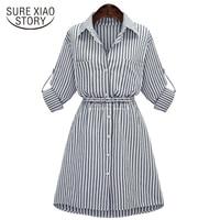 f82344234 2019 New Arrived European Fashion Women Dresses Lady A Line Casual Style  Plus Size Striped Button. 2019 nova chegou mulheres Europeias de moda ...