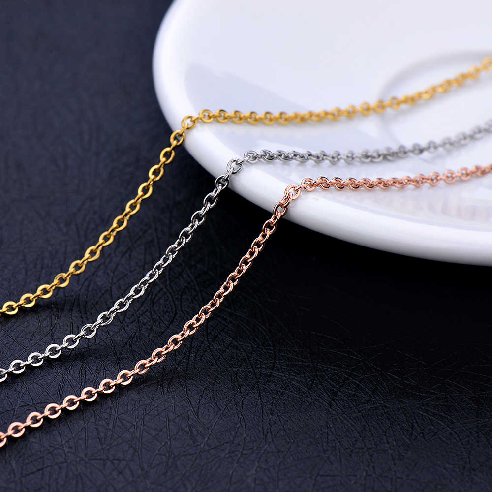 316L stainless steel silver gold rose gold color hammer cross chain necklace fashion jewelry for women Fit pendant length 45+5CM