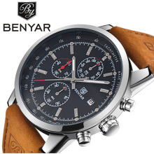 Benyar Mens Top Brand Luxury Leather Waterproof Multifunction Quartz Movement Chronograph Calendar Wristwatches