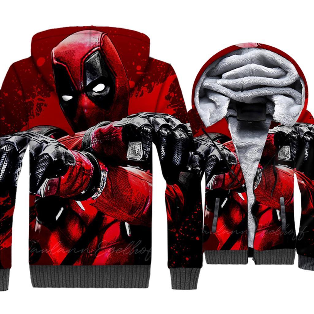 high quality harajuku tracksuits men hooded casual warm wool liner jackets coats deadpool 3D print sweatshirts 2019 winter hoody