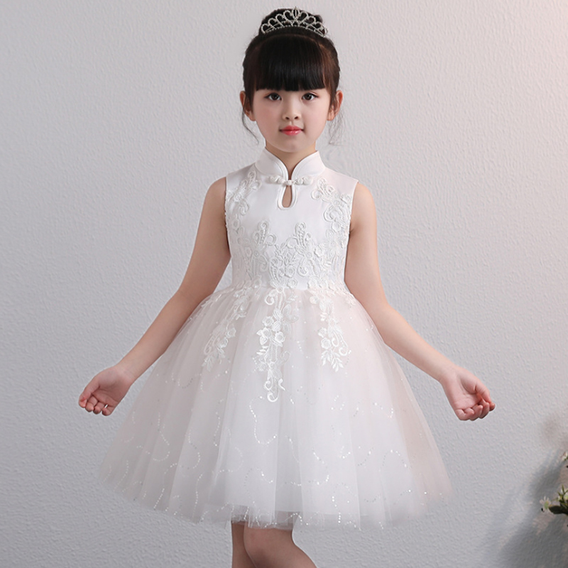 it's YiiYa Blue Dress for Girl Kids Ball Gown Chinese Collar Embroidery Tulle Flower Girl Dress Cotton Lining  2019 BX1703