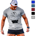Hot Summer Men's T-shirt Bodybuilding Clothing Funny t shirt Wear Printed Fitness Muscle Short Sleeve character male wear