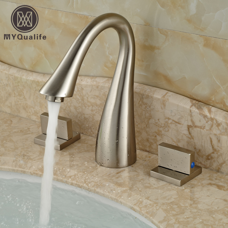 Brushed Nickel Double Handles Bathroom Sink Mixer Faucet Deck Mount 3 Holes Water Taps new arrive dual square handles waterfall spout bathroom sink basin faucet brushed nickel deck mount