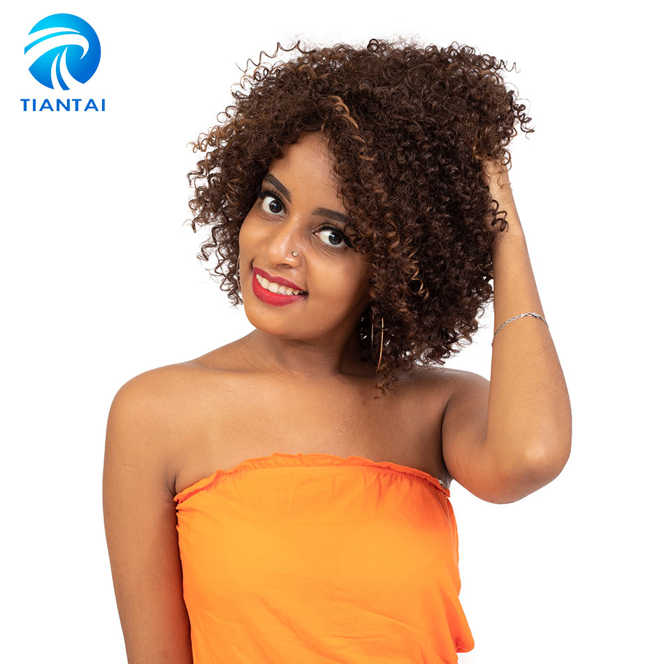 TIANTAI Short Human Hair Wigs For Women Curly Wave Remy 100% Human Hair None Lace Machine Made Rose Net Wigs Color 4/27