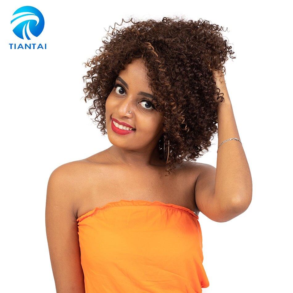 TIANTAI krótkie kręcone ludzkie włosy peruki brazylijski Remy włosy Glueless peruki z ludzkich włosów Ombre kolor F4/30 dla czarnych białych kobiet 10 cal na AliExpress - 11.11_Double 11Singles' Day 1