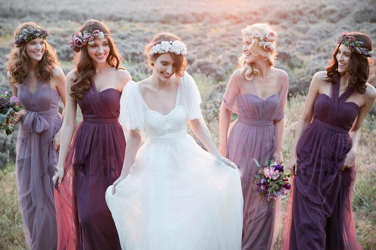 Lavender Purple Blush Long Tulle Bridesmaid Dress 2017 New Ribbon Variable Shoulder Beach Wedding Guests Tr B0022 In Dresses From