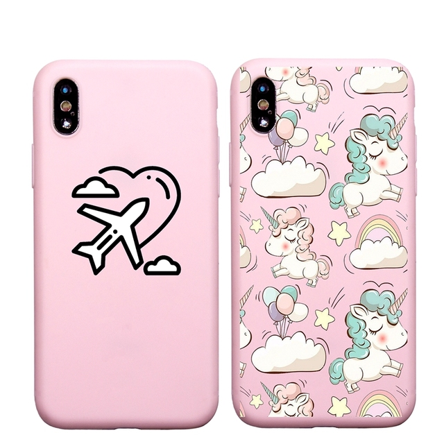 the latest 36b10 f9a2f Cute Unicorn Airplane Heart soft silicon Case For iphone 5 5s SE 7 8Plus  6Plus 6s Plus X Lovely cover Coque Funda Cute-in Fitted Cases from  Cellphones ...