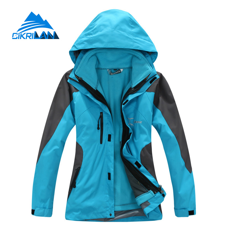 2019 Winter 3in1 Waterproof Hiking Ski Outdoor Jacket Women Camping Climbing Jaqueta Feminina Leisure Sports Casaco Feminino