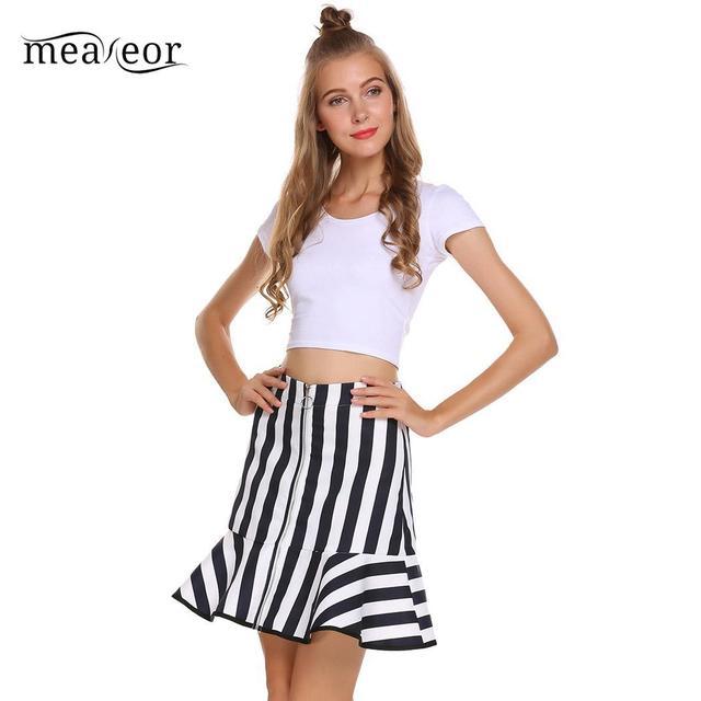 None Casual Women High Waist Back Zipper A-Line Fishtail Hem Sexy Skirt