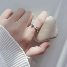 Small fresh blue stars index finger open ring