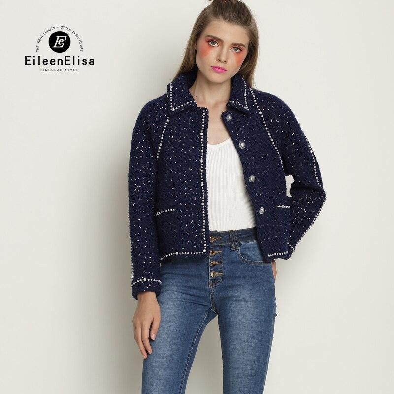 Tweed Jacket Coat With Pearls Woman 2017 Long Sleeve Autumn Winter Women Fashion Runway Jackets