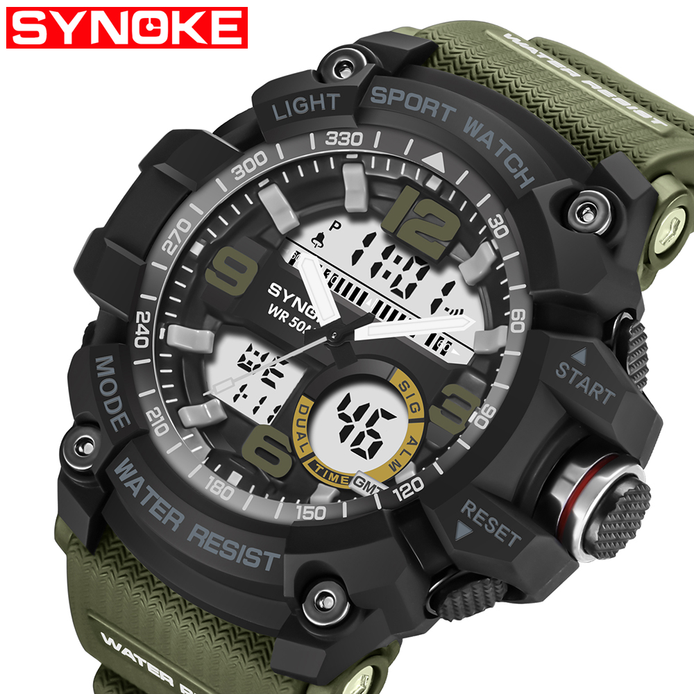 Sport Quartz Digital Watches Male Watch SYNOKE Sport Watch Men Waterproof relogio masculino Clock White Digital Military Watches