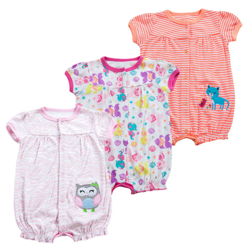 0095ed85477e 3 pcs lot Baby Girls Rompers Short Sleeves Baby Clothing Summer ...