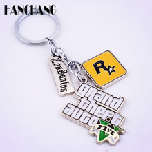 Muti-Pendant Key Holder PS4 Xbox PC Rockstar Game GTA V Grand Theft Auto 5 Keychains For Men Boys Fans Key Chains Key Ring