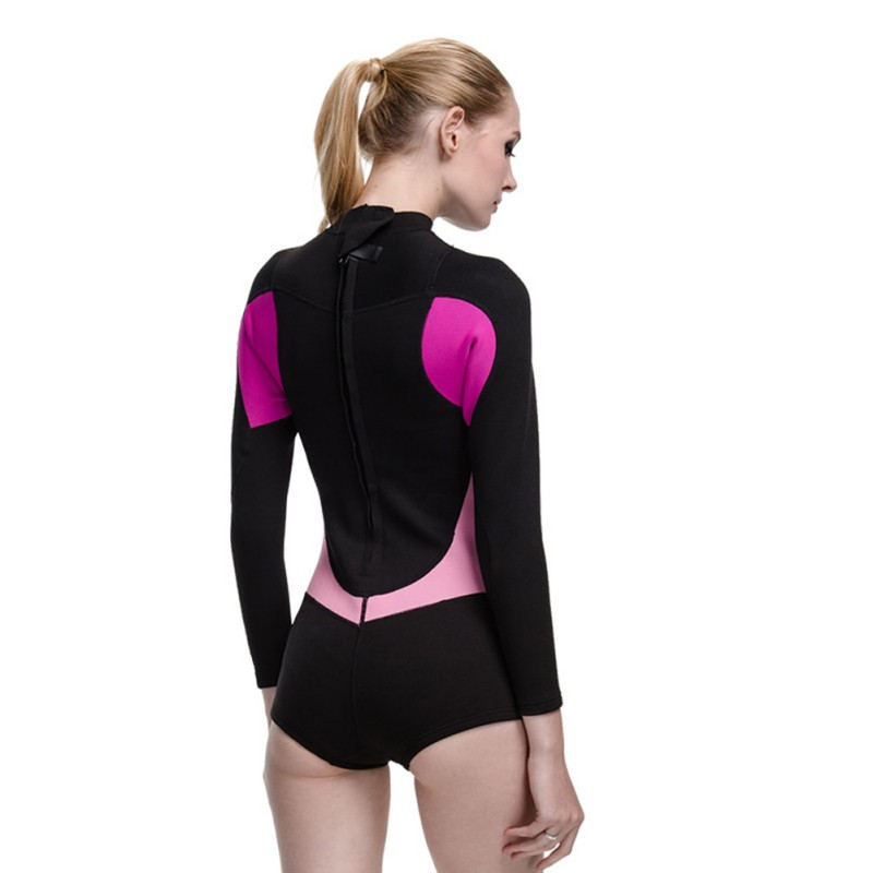 2017 New Style One-Piece Suits Neoprene Wetsuit Women 2MM Surfing Swimming Snorkeling Diving Wet Suit Long Sleeve Swimming sbart neoprene wetsuit women surfing 3mm diving suit upf50 long sleeve diving wetsuits for women long swimming suits 2xl 1013n