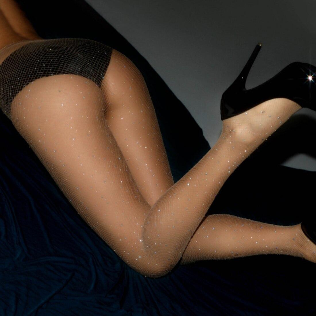 Women High Waist Diamond Fishnet Stockings Sparkle Rhinestone Tight Pantyhose Lady Girl Hoseiry