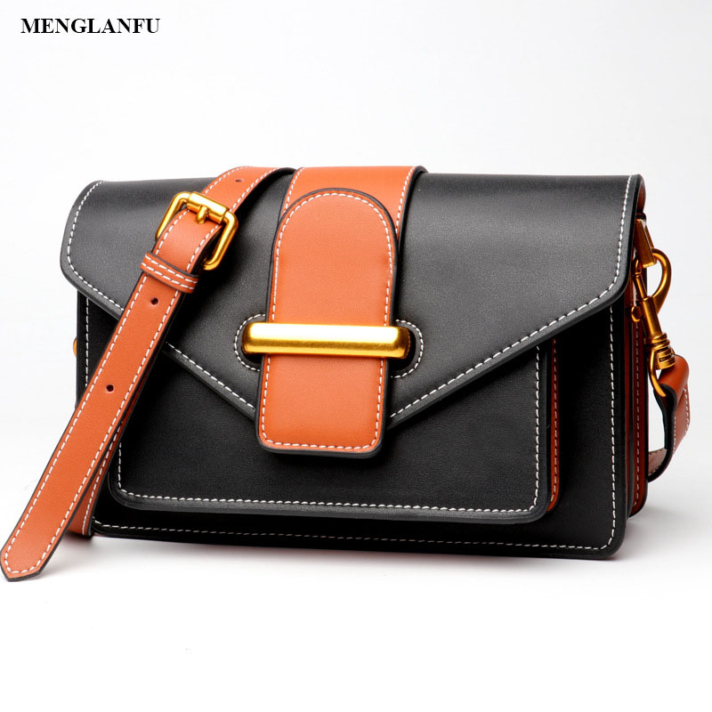 Genuine Leather messenger bags for women Cow Leather Shoulder Bag Ladies Casual Small Hasp Flap bag Vintage Solid Crossbody bags