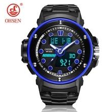 Top Sale Original OHSEN Fashion Quartz Digital Watch Men LED Alarm Swim Sports Mens Rubber Band Blue Wristwatches Relogios