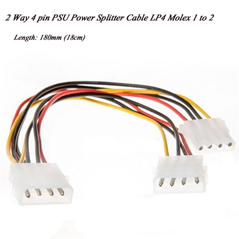 18cm 2 Way 4 pin PSU Power Splitter Cable LP4 Molex 1 to 2 Futural Digital Hot Selling JUN30 cable 18cm 2 way 4 pin psu power splitter cable lp4 molex 1 to 2 drop shipping cabo 17july18