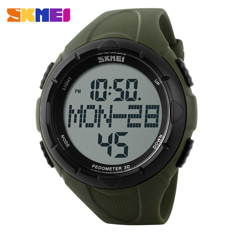 Fashion Outdoor Pedometer Sports Watches Men SKMEI Brand Digital LED Wristwatch Multifunctional Military Watch Relogio Masculino image
