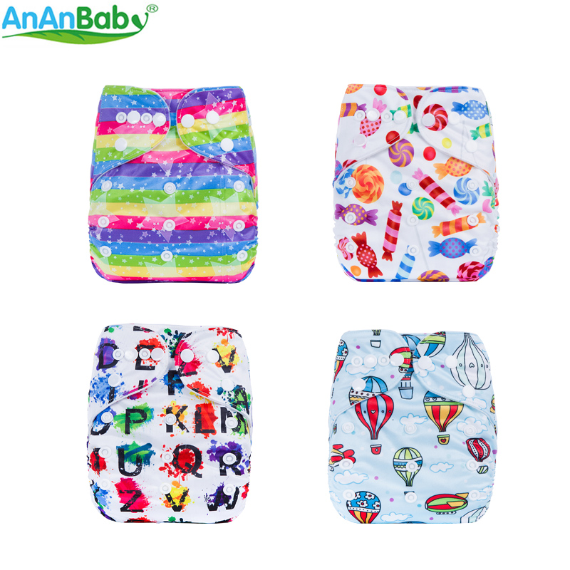 AnAnBaby Baby Reusable Baby Nappies Washable & Waterproof Baby Cloth Diaper Carton Prints P Series