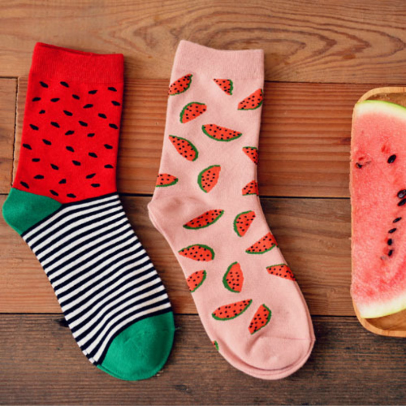 2pairs Printing Cotton Socks Casual Originality Red Calcetines Mujer Meias Style Novelty Cute Fashion Funny MC Chips Hamburger