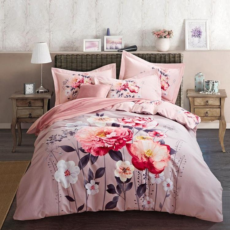 Sanding 100% Cotton Printed Flower Bedding Set Wedding Bed Sheet set Duvet Cover Pillowcase Queen King 4pcs pink calla lily roseSanding 100% Cotton Printed Flower Bedding Set Wedding Bed Sheet set Duvet Cover Pillowcase Queen King 4pcs pink calla lily rose