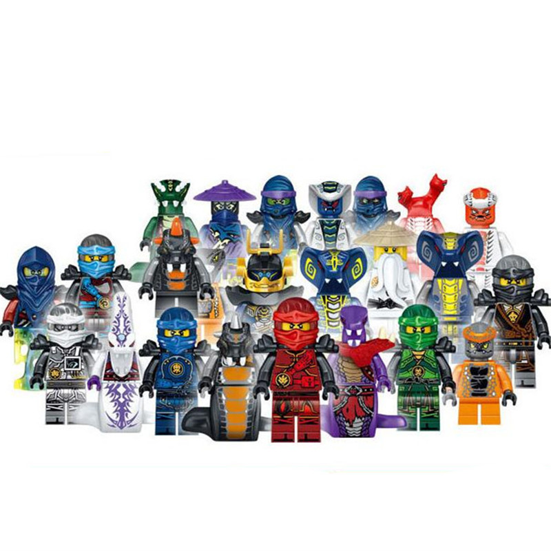 2pcs/lot Ninja and Snake Mini Ninjago Figures Building Blocks Compatible With LegoINGlys Toys For Kids ABS Collection Model Toy