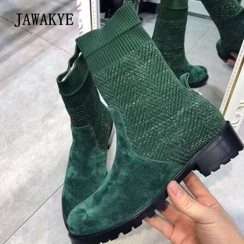 2018 Chic Knitted Ankle Boots Woman Round Toe Suede Real Leather Patchwork Flat Sock Boots Women Fashion Martin Boots