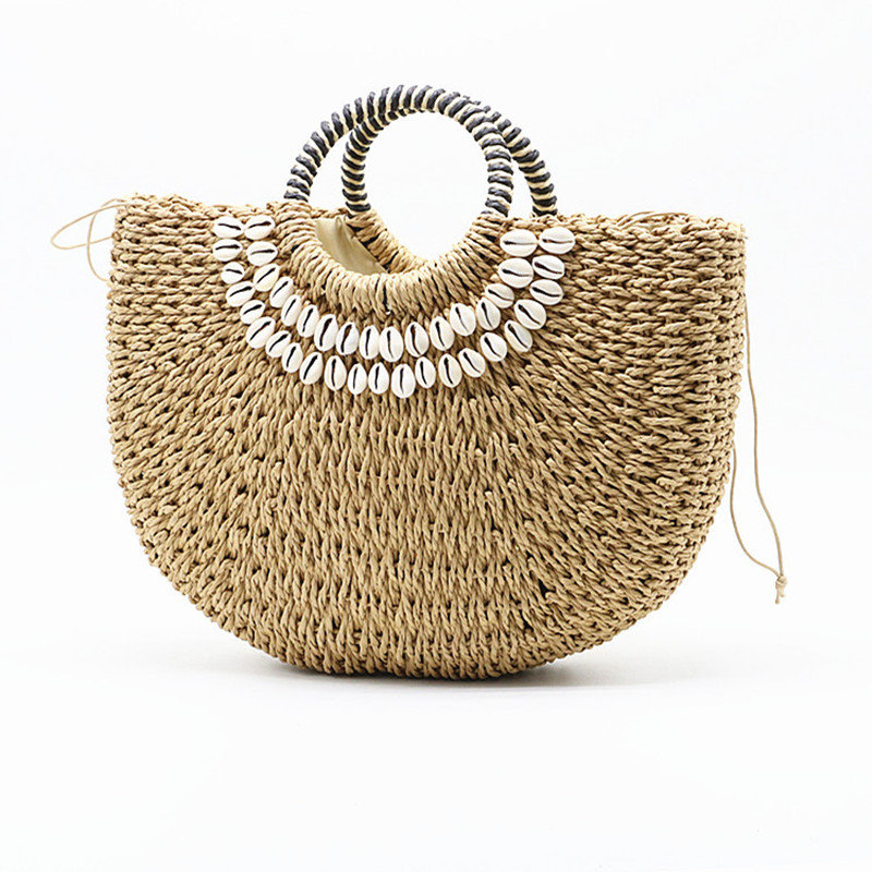 2020 New shell moon bag straw bag women's straw bag handmade  woven basket wicker Summer Grass Bags Drawstring of totes