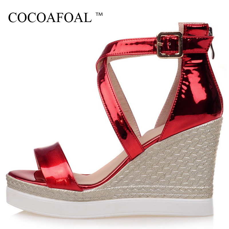 COCOAFOAL Woman Open Toe Heels Sandals Gladiator Wedges Women Fashion Silver Gold Sexy Women High Heeled Shoes Gladiator Sandals 2018 fashion women pumps sexy open toe heels sandals woman sandals thick with women shoes high heels s144