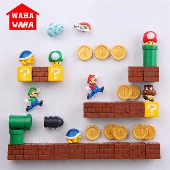 1 Set In Resina 3D Carino Super Mario Magneti Frigo Vestito per I Bambini Figurine Parete Marios Proiettili di Mattoni Decorazione Della Casa Ornamenti