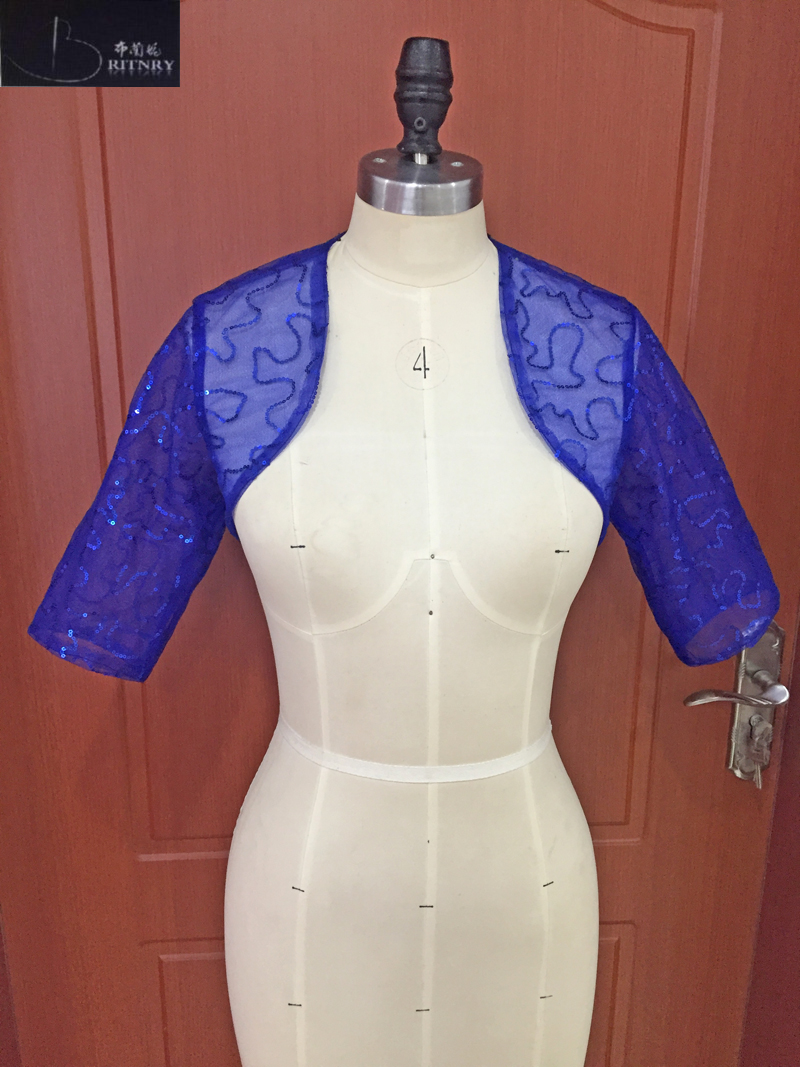 Luxury Bolero Blue Shiny Half Sleeve Sequined Jacket Women Formal Evening Jackets High Quality Cheap Bridal Wrap